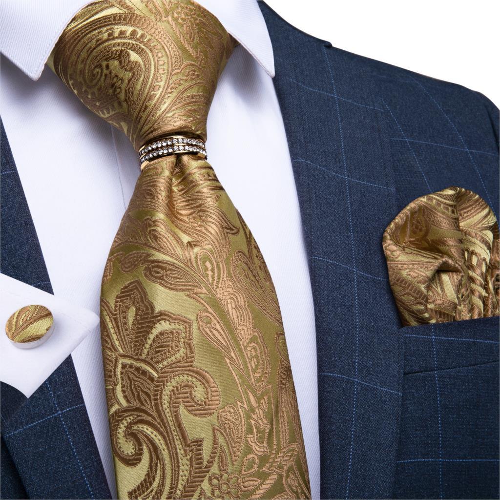 Men Tie Gold Paisley High Quality Wedding Tie For Men Tie Ring Hanky Cufflink Silk Tie Set DiBanGu Designer Business JZ03-7282