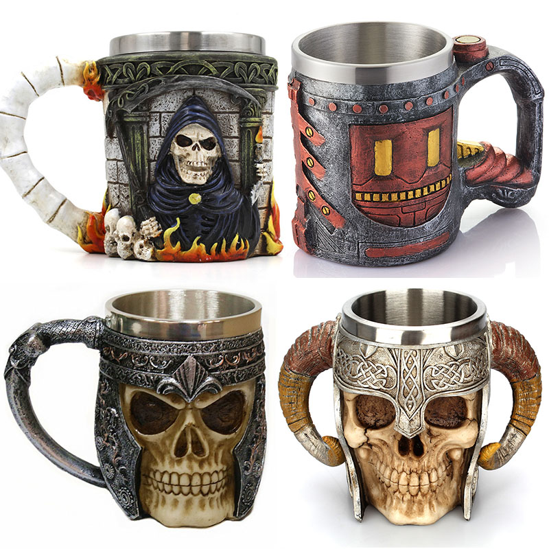 3D Cool Skull Bar Mug Coffee Cup en acier inoxydable Cup Creative Gift