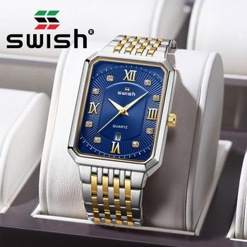 SWISH Fashion Quartz Wristwatches Men Stainless Steel Business Watches Waterproof Sports Rectangle Man Watch 2020 Montre Homme - discount item  90% OFF Men's Watches