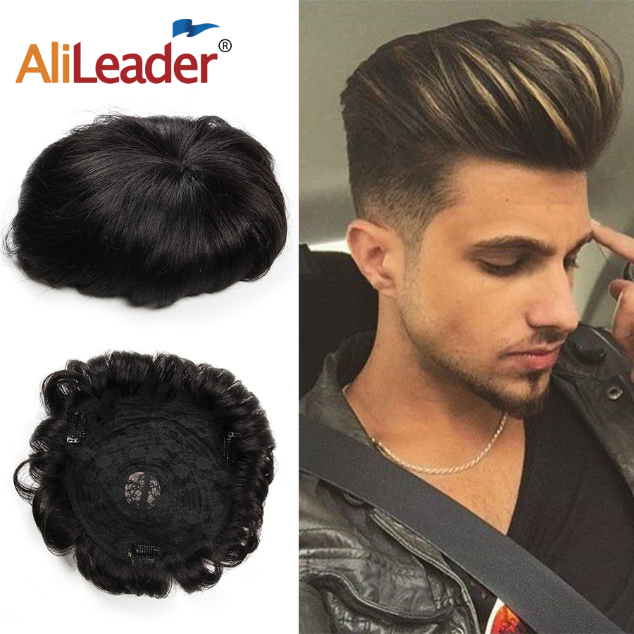 Alileader High Quality Men's Hair Toupees 18cmx20cm Natural Color Men's Human Hairpiece Topper Replacement With Clips