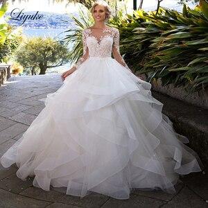 Image 1 - Liyuke Ruffles bir çizgi düğün elbisesi prenses uzun kollu Backless gelinlik