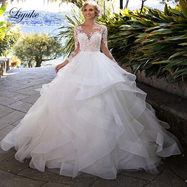 Liyuke Ruffles bir çizgi düğün elbisesi prenses uzun kollu Backless gelinlik