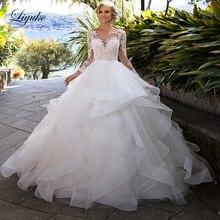 Liyuke ruffles backless 신부 드레스의 긴 소매와 라인 웨딩 드레스 공주