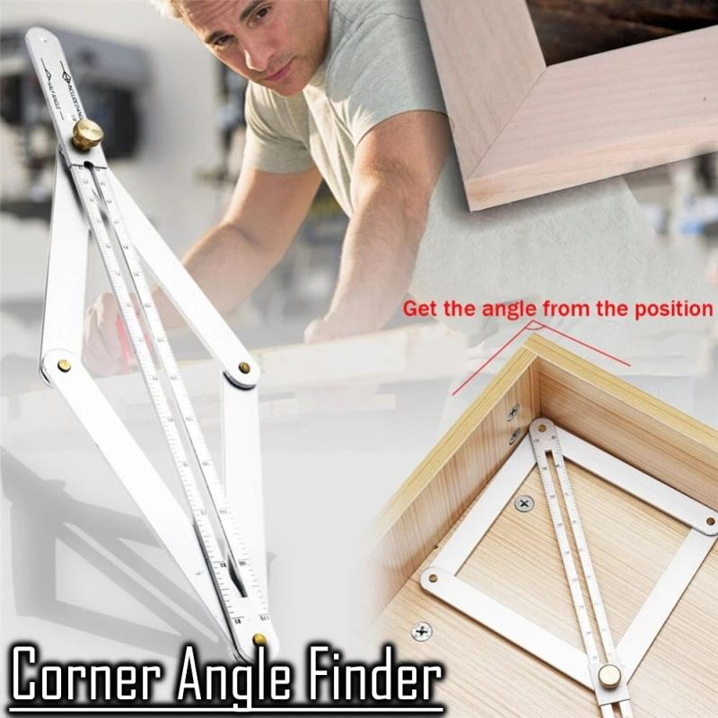 Stainless Steel Corner Angle Finder Ceiling Artifact Tool Square Telescopic Protractor Drawing, Measuring Decoration Supplies