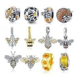 Gorąca sprzedaż 100% prawdziwe 925 srebro pszczoła koralik do bransoletki z wisiorkami Fit oryginalne bransoletki Pandora srebro luksusowe biżuteria DIY 2020 nowy