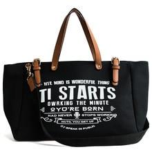 Bayanlar kadın çantası avrupa amerikan büyük tuval moda büyük kapasiteli Tote mektup omuz askılı çanta Casual Tote çanta