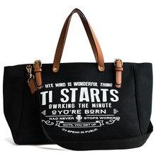 Sac à épaule pour femmes, grand sac européen américain en toile tendance de grande capacité, sacoche en lettre à épaule, fourre tout décontracté