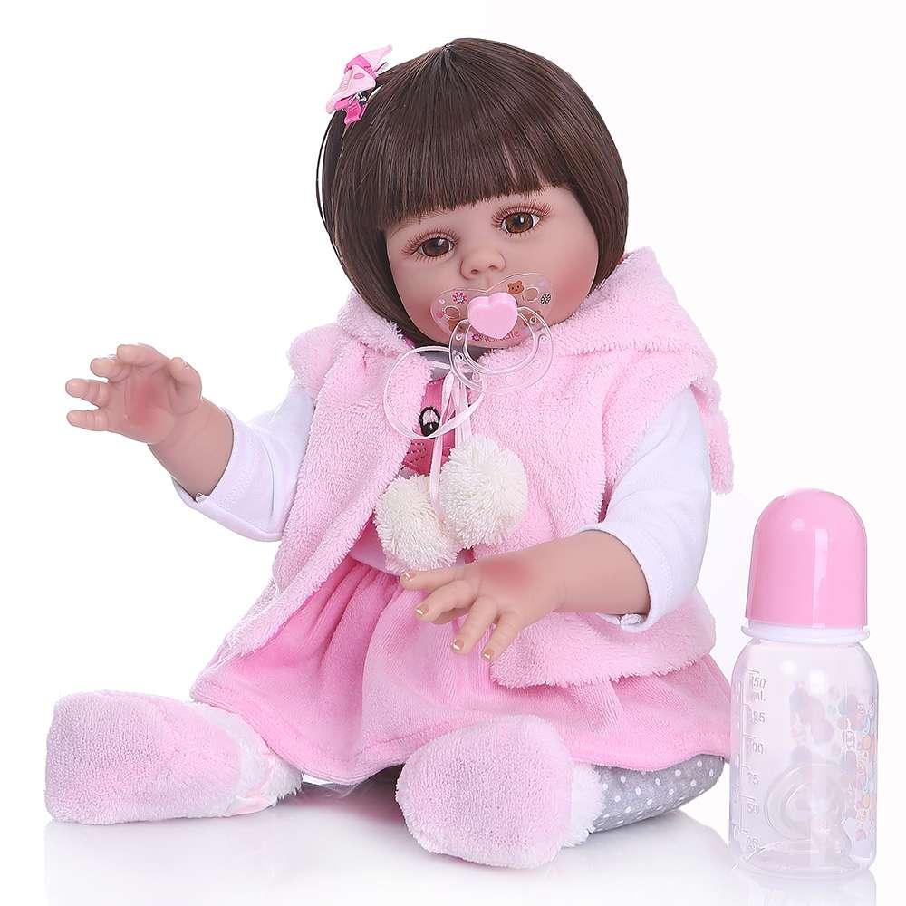 48 cm bebê boneca reborn da criança menina boneca no vestido de coelho rosa de corpo inteiro silicone macio realista bebê anatomicamente correto