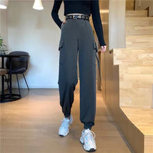 Женские черные брюки карго с карманами и пряжкой женские мешковатые