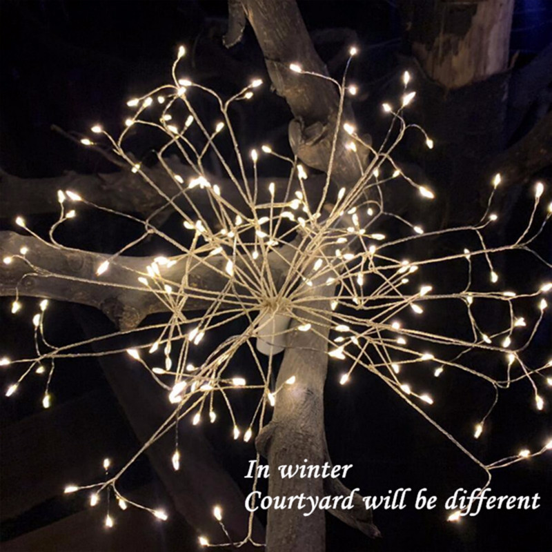 120LED Firework Light Solar Powered Outdoor Lawn Lamps DIY Fairy Garland Flashing Light For Christmas Festival Garden Home Decor