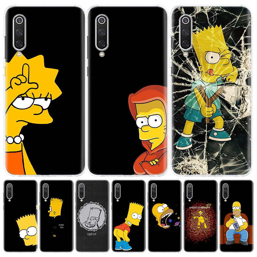 Black Simpsons Phone Case For Xiaomi Redmi Note 9 8 7 8A 7 7A 6A S2 K20 K30 8T 9S MI 9 8 CC9 F1 Pro Fashion Cover Capa