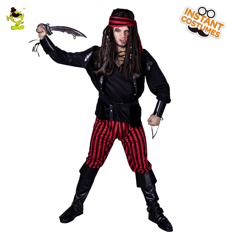 Homme Cool Pirate capitaine Cosplay Costume adulte Halloween fantaisie robe de soirée ensemble de luxe Pirate Jack film personnage rayure Costume