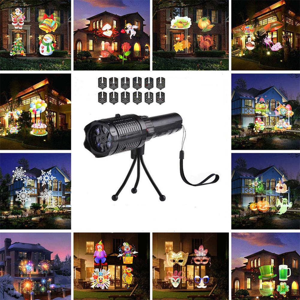 Outdoor LED Christmas Projector Lights 12 Patterns Handheld Insert Card Projection Lamp Halloween Xmas Party Laser Snow Light