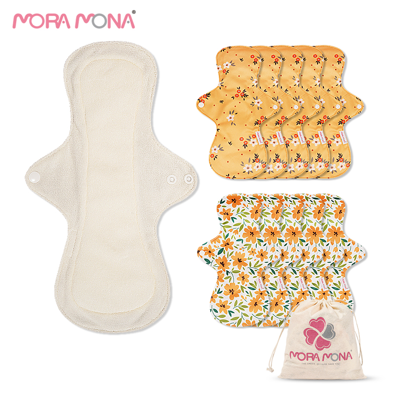 10 шт. моющаяся бамбуковая гигиеническая прокладка Mora Mona многоразовая тканевая менструальная прокладка для девочек