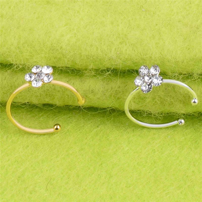 Acero inoxidable Circular nariz anillo Circular Punk pequeño Delgado transparente Diamante de imitación flor labio oreja nariz Clip en falso Piercing caliente