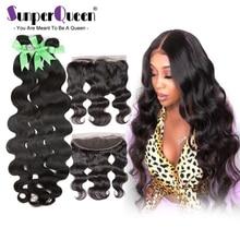 {Sunper Queen}Body Wave 8 30 بوصة م خصلات شعر طبيعي برازيلي اللون الطبيعي 3 حزم مع 13*4 أمامي