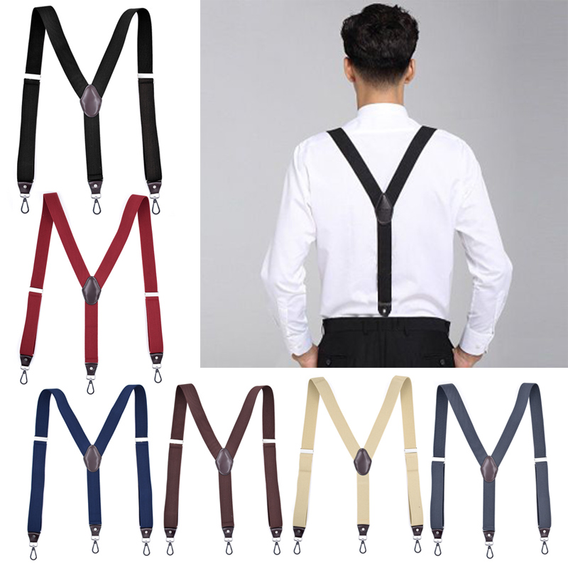 Hook Buckle Fashion Suspenders Stretchy Wide Elastic Men Pliers Women Braces WML99