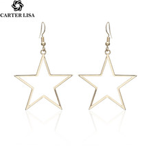 CARTER LISA Fashion Gold Star Drop Earrings for Women Big Personalized Dangle Earrings Wedding Jewelry Bridal Accessories(China)