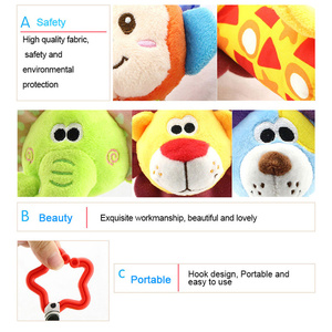 Image 5 - Hanging Plush Baby Toy Rattle Lovely Cartoon Animal Bell Newborn Stroller Accessories Baby Toys 6 Style Lion Deer Elephant WJ148