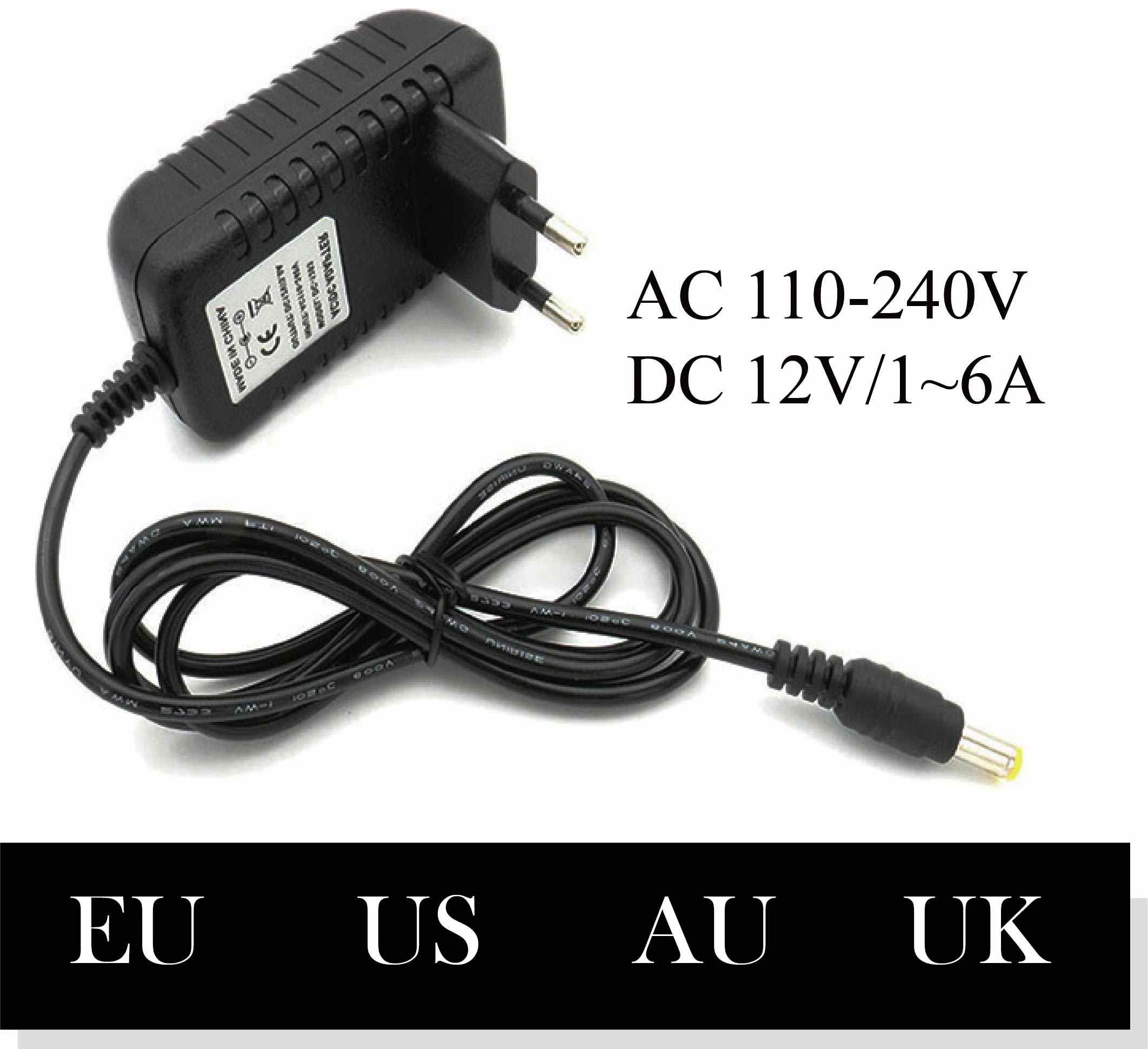 718/5000 110-240V 12V 1A 2A 3A 4A 5A 6A AC Ke DC Adaptor Universal Power Adaptor charger Lampu LED Strip Plug
