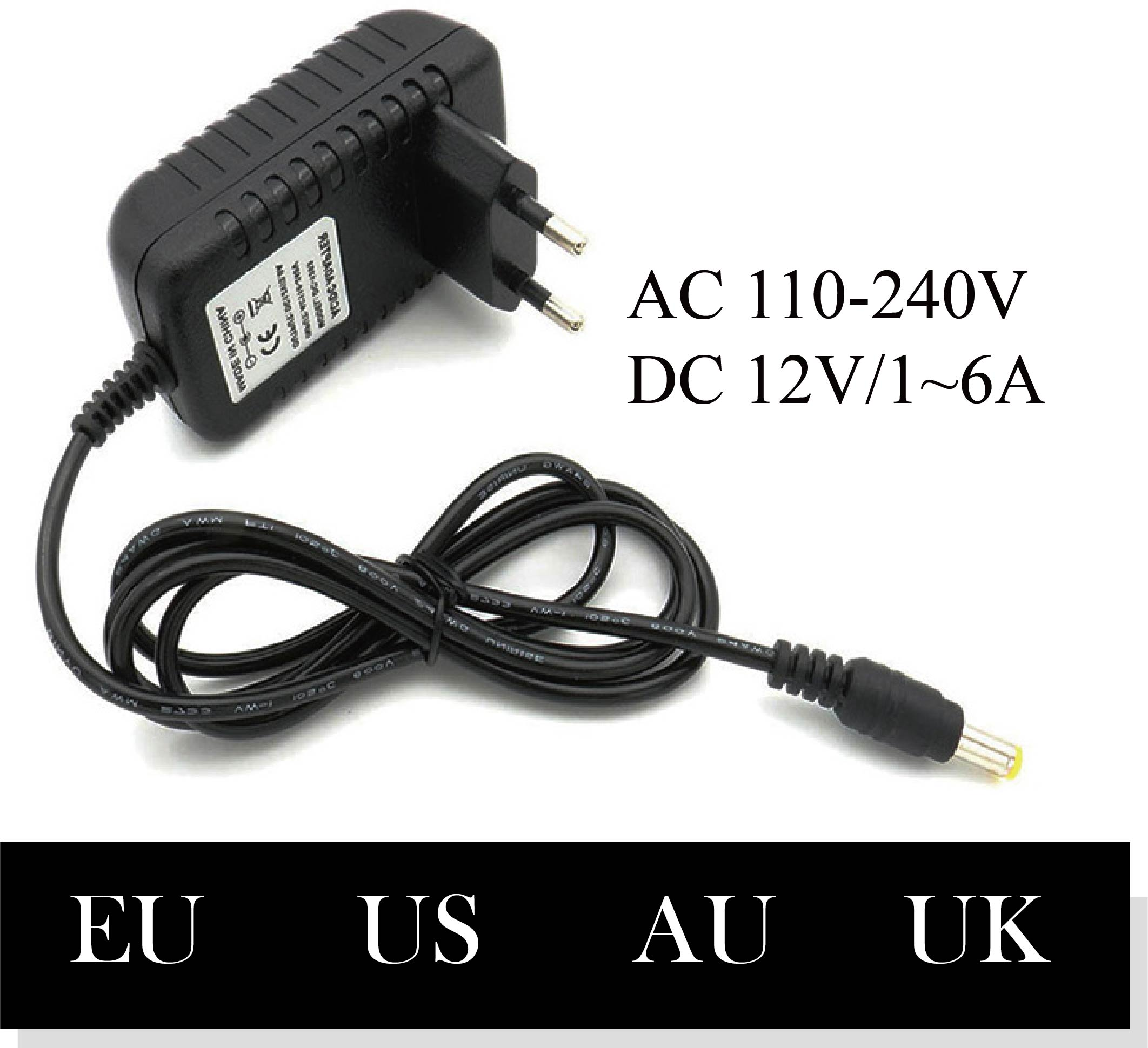 110-240V 12V 1A 2A 3A 4A 5A 6A AC To DC Adapter Universal Power Adapter Charger LED Light Strip Plug