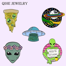 Colección de Alien, Pin esmaltado, OVNI, Planeta, flor, Pizza, broches de alienígenas universo espacio exterior, insignia de Vida Cósmica, Pin de joyería al por mayor