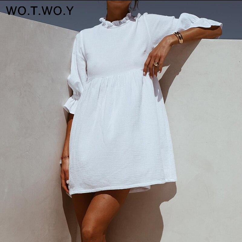 WOTWOY Summer Ruffles Loose T Shirt Dress Women Lantern Sleeves Casual White Dresses Women Cotton Mini Vestidos Bohemios 2020