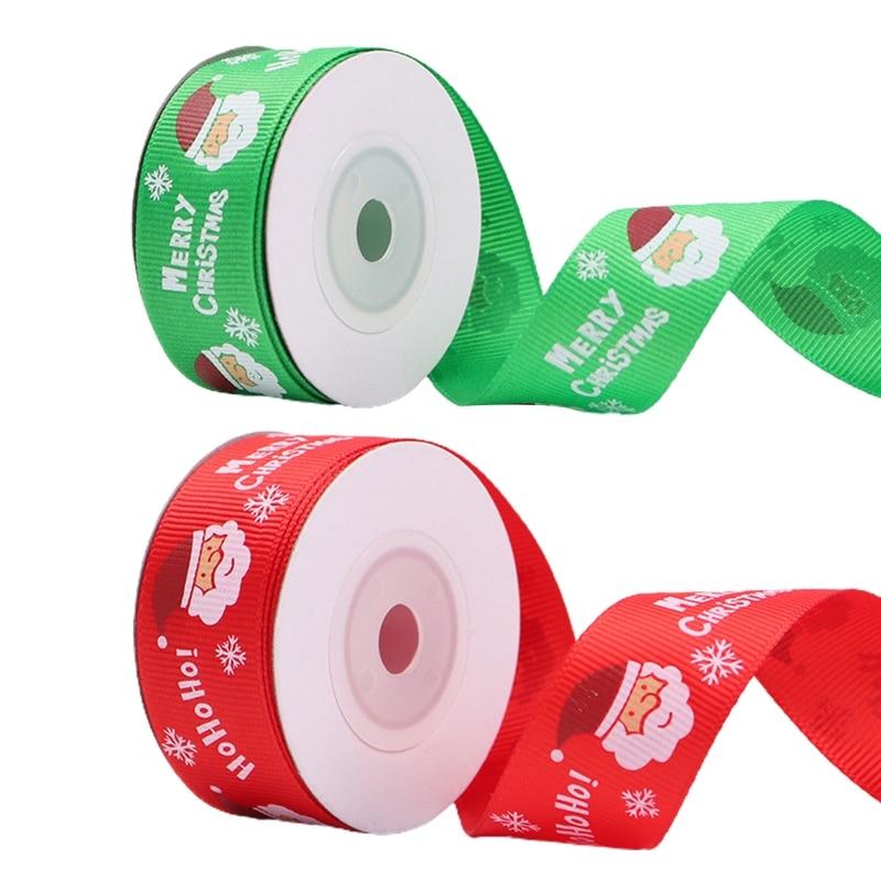 7 Rolls 10 Yards 25mm Santa Claus Printing Red Green Christmas Grosgrain Ribbon for DIY Gift Wrapping Xmas Decoration