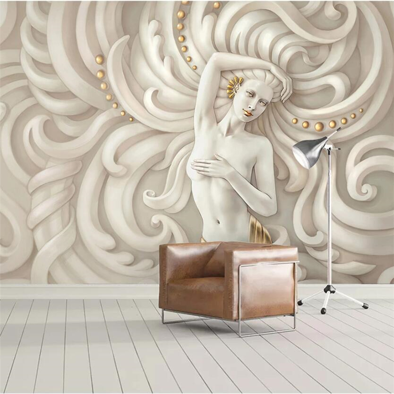 Papel de parede Customized large mural <font><b>3d</b></font> embossed beauty sculpture angel <font><b>sexy</b></font> woman background wall <font><b>wallpaper</b></font> image