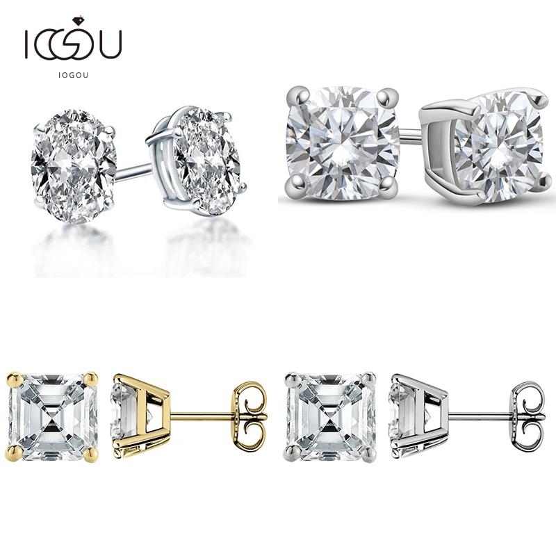 IOGOU-pendientes de diamante de moissanita para mujer, de Color plata 925 D, joyería de moissanita de corte brillante ovalado/cojín/Asscher/pera