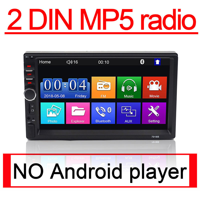 <font><b>2</b></font> <font><b>Din</b></font> Auto-Radio-Player 7 zoll HD Multimedia Kamera Universal MP5 <font><b>Autoradio</b></font> <font><b>Bluetooth</b></font> Audio spiegel link gps navigation 7018B DVR image