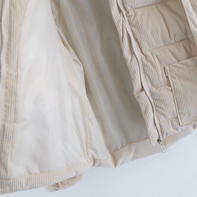 Parkas de pana espesantes para mujer moda Casual abrigo suelto amarillo verde con cremallera de algodón para mujer chaqueta de gran tamaño - 5