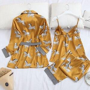 Image 3 - Женское нижнее белье Fiklyc, комплект из 3 предметов, атласная пижама пуш ап с широкими рукавами, пикантная Ночная рубашка в Корейском стиле на осень