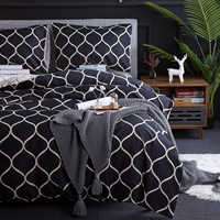 Nordic Black Grid Bedding Adults Bedclothes Bed Comforter Soft Pillowcase Duvet Cover US Twin Lattice Bedding Set