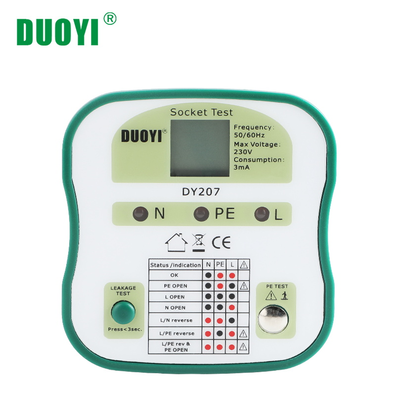 DUOYI DY207 Digital Display Socket Tester Switch Safety Detector Circuit Tester Wall Plug Breaker Finder RCD Test Electroscope