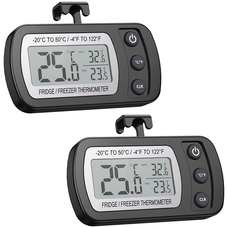 Refrigerator Thermometer (2 Packs), Hooked Waterproof Refrigerator Thermometer LCD Display, Maximum/Minimum Function - Perfect F
