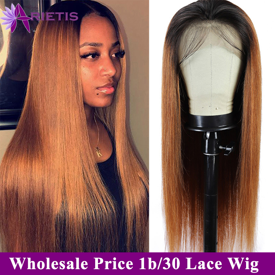 Arietis Lace Front Human Hair Wigs T1b/27/30/99 J Pre Plucked With Baby Hair For Women Brazilian Remy Straight Human Hair Wig