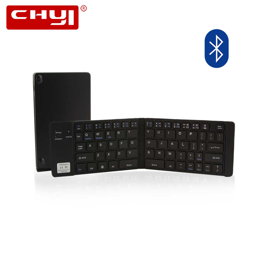 CHYI Portable pliant sans fil Bluetooth clavier Rechargeable mince pliable Mini clavier de voyage pour IPhone IPad Apple tablette