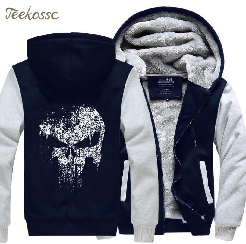 Image 4 - Super Hero  Skull Sweatshirts Men 2018 New Winter Fleece Print Thick Hoodies Jacket Hoddie Streetwear Hip Hop Male-in Hoodies & Sweatshirts from Men's Clothing