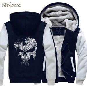 Image 4 - Super Hero  Skull Sweatshirts Men 2018 New Winter Fleece Print Thick Hoodies Jacket Hoddie Streetwear Hip Hop Male