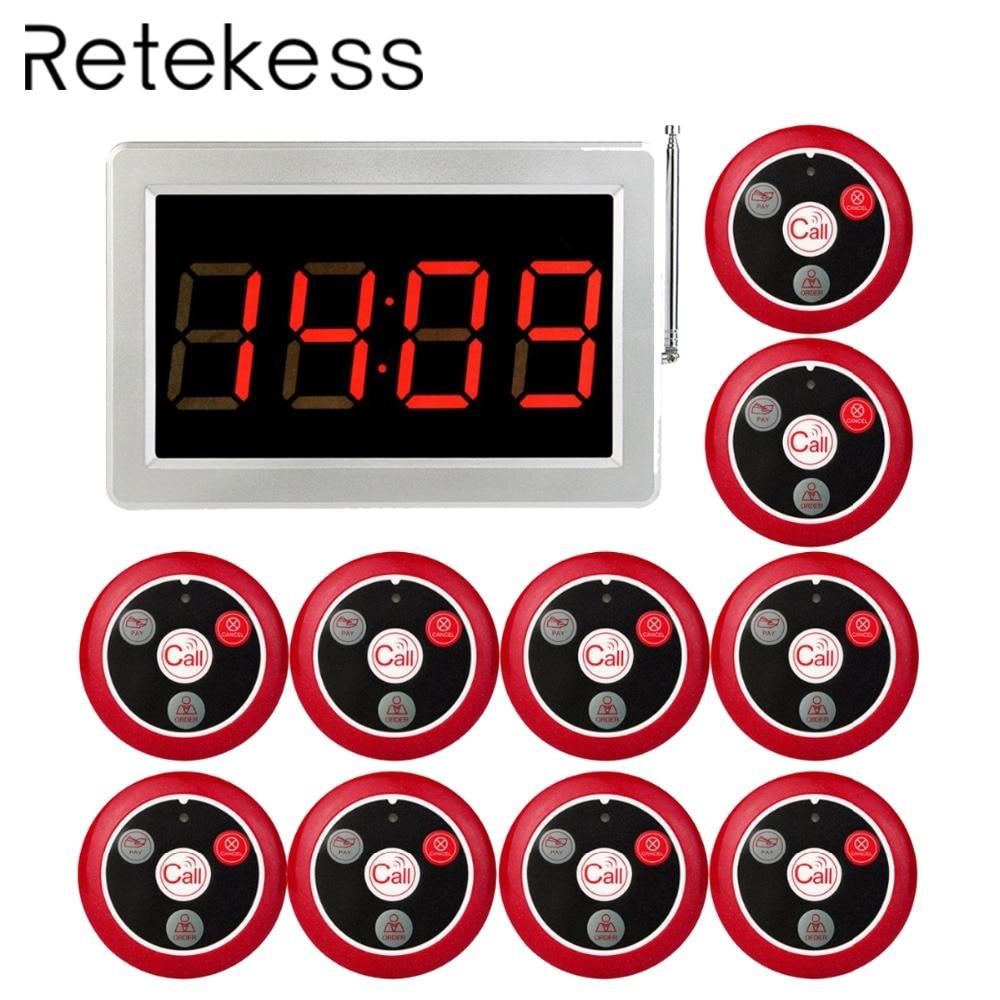 RETICÊNCIA 999 Canais RF Sem Fio Garçom Sistema de Chamada Para O Restaurante Botão de Chamada de Serviço Do Sistema Pager Receptor Anfitrião + 10 1
