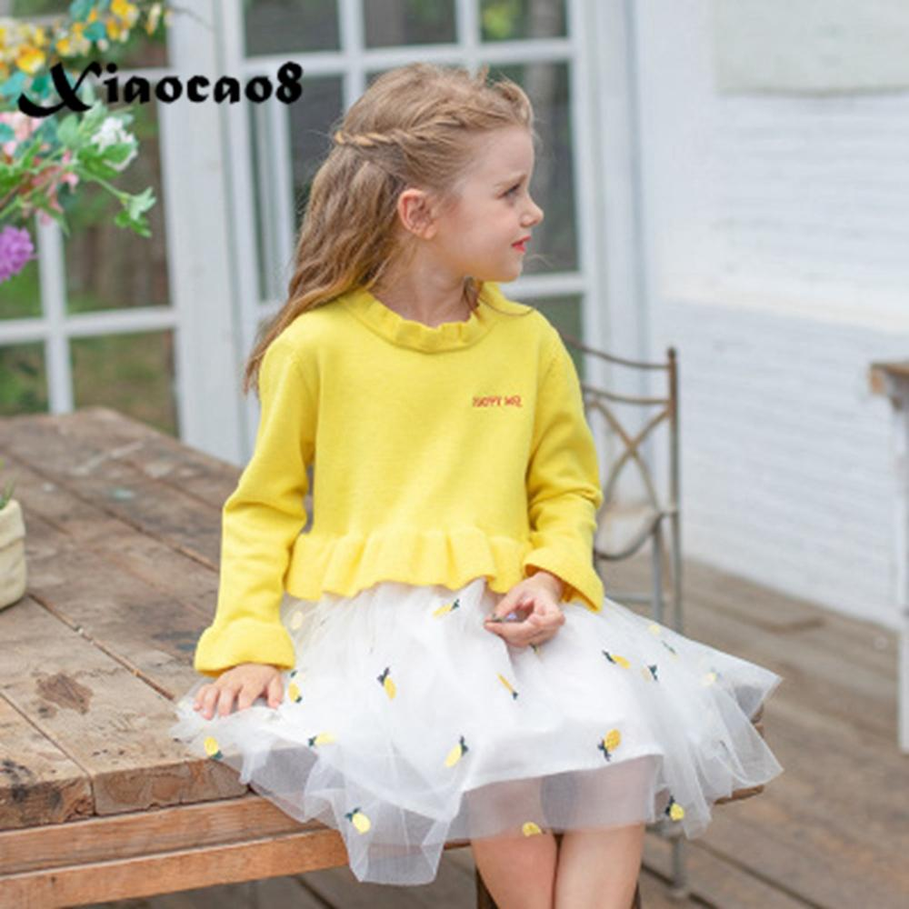 2~9Years kids knitted winter dress toddler girls cute swan mesh princess dresses children fall clothes baby girl party dress