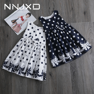 Casual Polkadot Dresses for Girls Bow Birthday Party Dress Kids Clothing Sundress Baby Girl Clothes 4 5 6 7 8 9 10 11 12 Years(China)