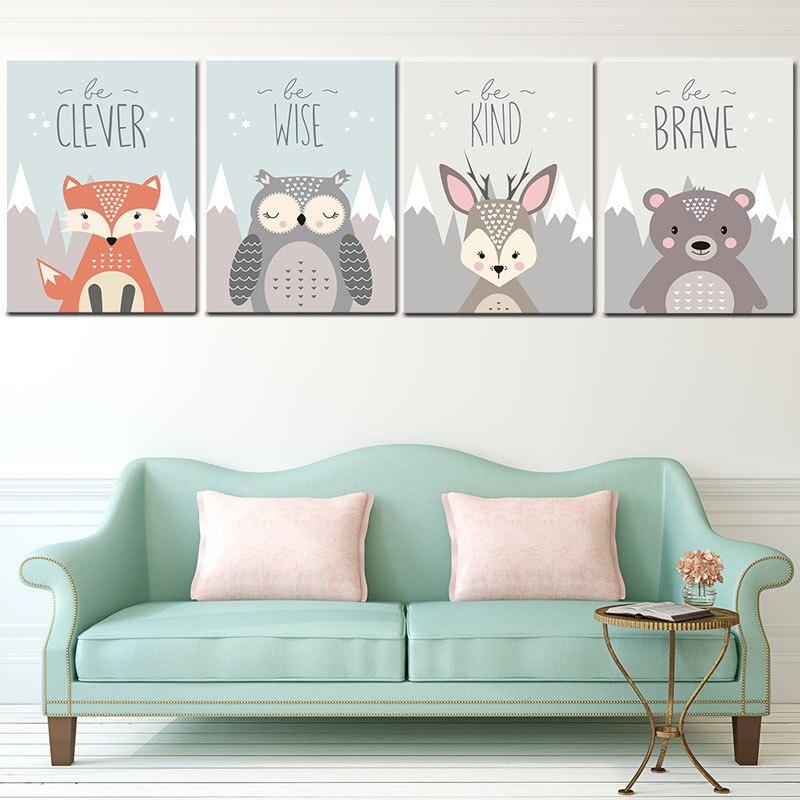 Nordic modern cartoon mural children's room small fresh animal hanging painting decorative painting core