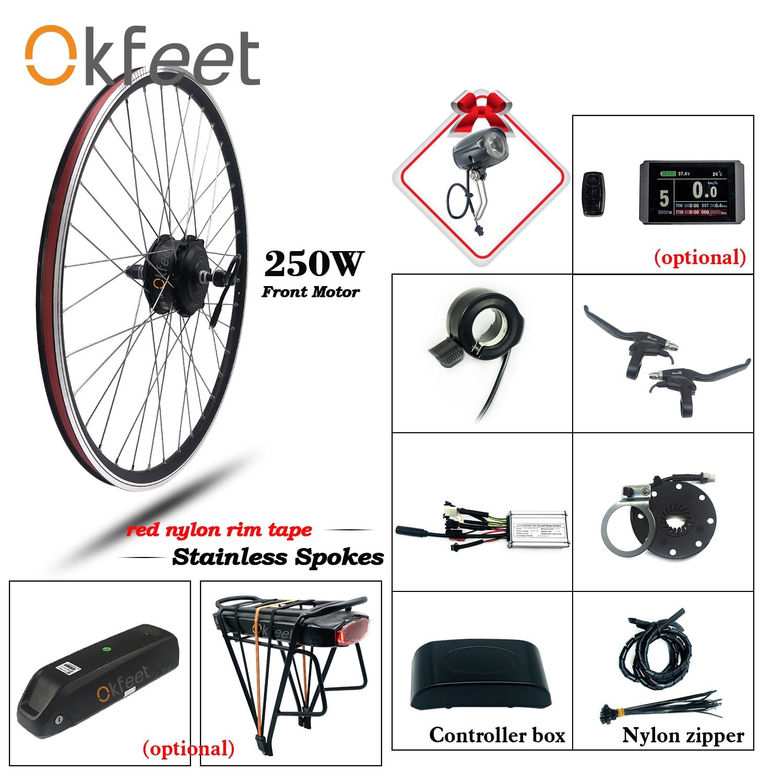36V 250W eBike конверсионный Комплект Переднее моторное колесо ступицы 26 28 Inch легкий Электрический велосипед Ebike конверсионный комплект с функци...