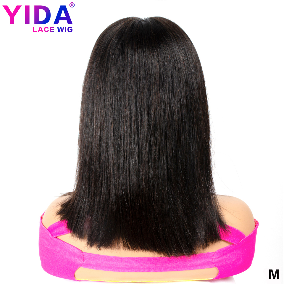 Yida 13x6 Blunt Cut Short Bob Wig Lace Front Human Hair Wigs Brazilian Straight Bob Wigs Medium Ratio 150% Density Remy Hair