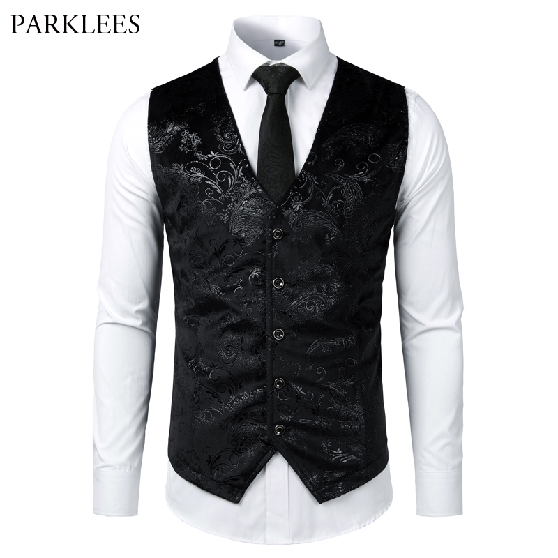 Gold Silver Steampunk Mens Vest Paisley Print Flower Metallic Suit Waistcoat Male Prom Party Disco Dress Vest Tuxedo Gilet Homme