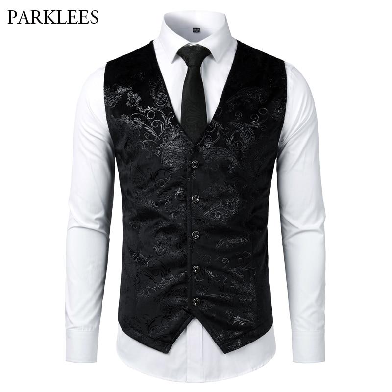 Gold Silver Steampunk Mens Vest Paisley Print Flower Metallic Suit Waistcoat Male Prom Party Disco Dress Vest Tuxedo Gilet Homme