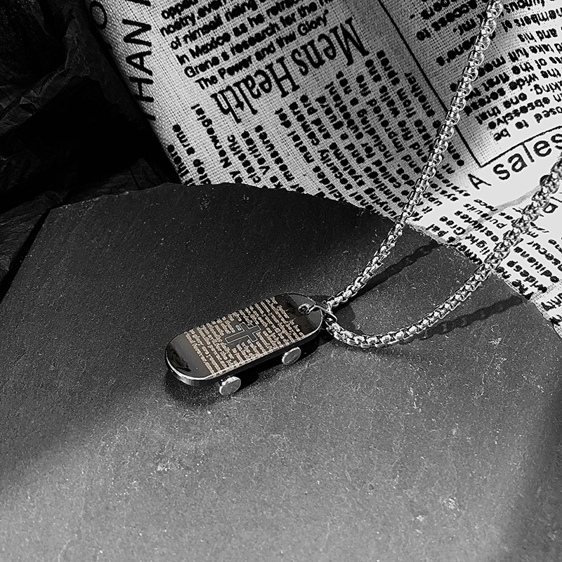 Punk Fashion stainless steel Necklace Men skateboard statement pendant chain gothic style Necklaces Hip hop Jewelry 2020(China)