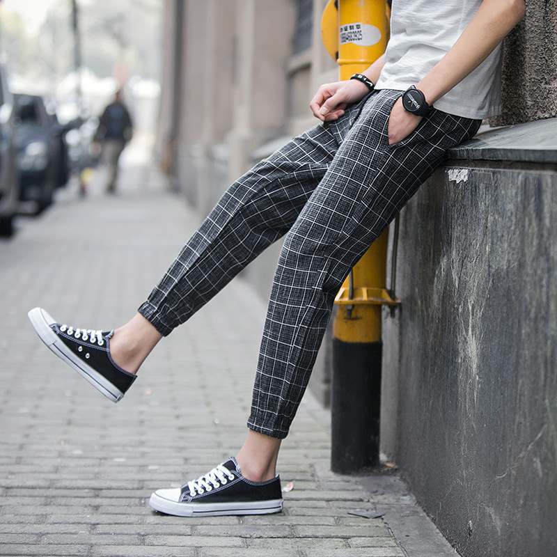Casual Plaid Ankle Length Pants Men Trousers Hip Hop Gym Jogger Pants Men Sweatpants Japanese Streetwear Men Pants 2019 New